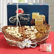 Soan Papdi N Dry Fruits Hamper: Bhai Phota Gifts for Brother
