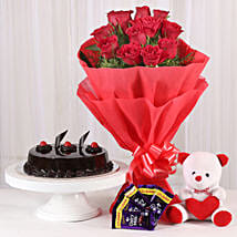 Roses with Teddy Bear, Dairy Milk & Truffle Cake: Send Valentine Flowers to Varanasi