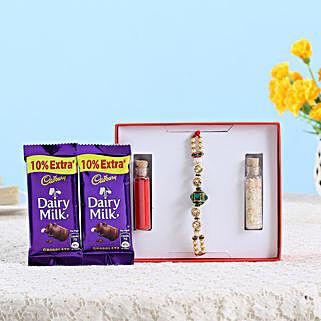 Stone Pearl Rakhi & Chocolates Combo: Rakhi With Cadbury Chocolates