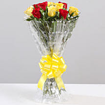 Striking Red & Yellow Rose Bouquet: Send Flowers to Sitapur