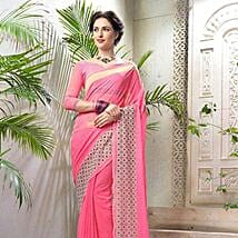Striped Pink Faux Georgette Saree: Saree Gifts