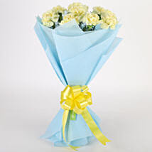 Sundripped Yellow Carnations Bouquet: Anniversary Flowers