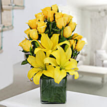 Yellow Roses & Asiatic Lilies Vase Arrangement: Send Valentine Roses for Girlfriend