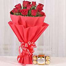 Red Roses & Ferrero Rocher Combo: Flowers & Chocolates Indore