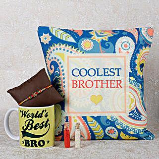 Swastik Rakhi With Mug & Cushion: Send Rakhi With Cushions