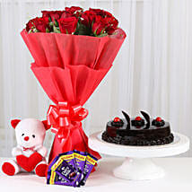 Red Roses Romantic Combo: Send Flowers & Cakes to Ahmedabad