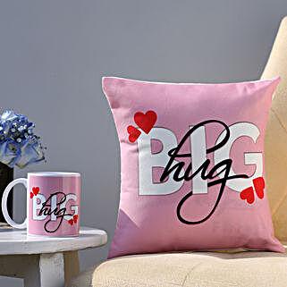 The Big Hug Coffee Mug & Cushion Combo: Hug Day Gifts