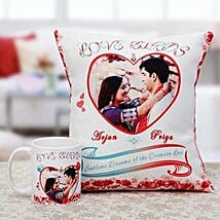 Love Birds Personalised Cuhsion & Mug Combo: Personalised Mugs Pune
