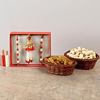 Three Designer Rakhis & Dry Fruits Combo: Send Set of 3 Rakhi