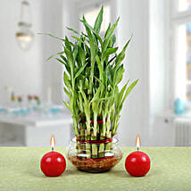 Three Layer Bamboo Plant With Red Candles: Diwali Gifts for Him