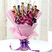 True Feelings- Purple Orchids & Chocolate Bouquet: Chocolate Bouquet in Lucknow