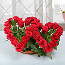 Two Red Hearts As One Basket Arrangement: Girlfriend Day Roses