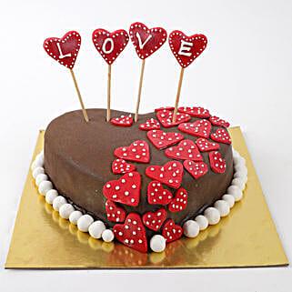 Valentine Red Hearts Cake: Send Valentine Chocolate Cake