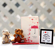 Valentines Card & Cuddly Teddy Bears Combo: Buy Greeting Cards