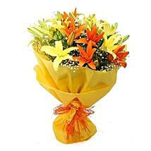 Vibrant Lilies Bouquet: Flower bouquets for anniversary