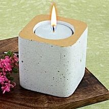 White Concrete Tea Light Holder: Diwali Candles