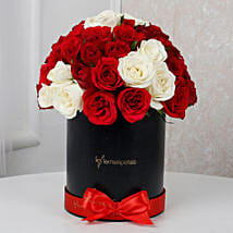 White & Red Roses Box Arrangement: Send Birthday Flowers for Wife