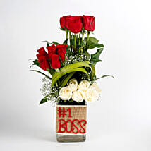 White & Red Roses Glass Vase Arrangement No 1 Boss: Boss Day Gifts