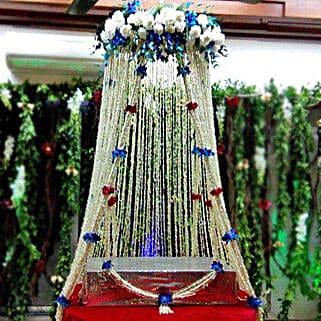 White Sparkling Flower Tower Decoration: