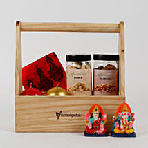 Wooden Basket of Diwali Gifts: Diwali Gifts for Her