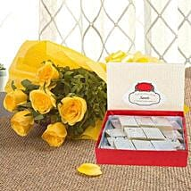 Yellow Roses N Kaju Katli: Flowers & Sweets for Friendship Day