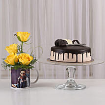 Yellow Roses Picture Mug & Chocolate Cake: Mugs for Fathers Day