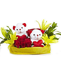 You & Me- Teddy Bear with Roses & Lilies: Flowers & Teddy Bears for Mothers Day