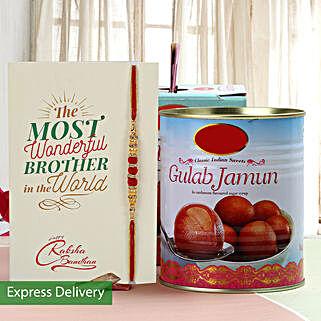 Yummy Gulab Jamun And Rakhi Combo: Send Rakhi With Sweets to Dwarka