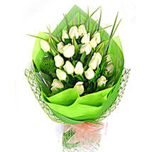 Exotic White Roses Bouquet: Condolence Flowers Delivery in Malaysia