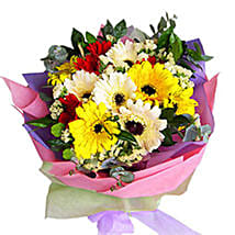Mix Color Gerberas Bouquet: Send Flower Bouquets to Malaysia