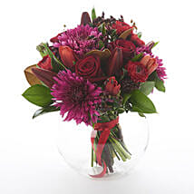 Dark Red Posy: Order Anniversary Flowers in New Zealand