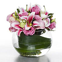 Serene Pink Posy: Lilies to New Zealand
