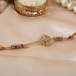 Key Shaped American Diamond Rakhi: Send Rakhi to Pakistan