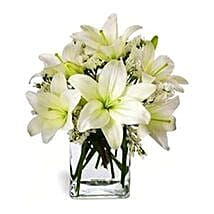 Casablanca Lilies in Vase: Send Birthday Flowers to Singapore