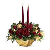 Crimson and Gold Centerpiece: Christmas Flowers Singapore