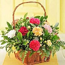 Mixed Carnations in a Basket: Birthday Flowers to South Africa