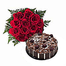 1 Dozen Roses with Cake: Send Gifts to Fujairah