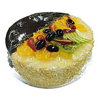 1 Kg Half Chocolate Half Fruits Cake: Send Cakes to Ajman