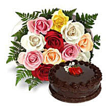 12 Multicolored Roses with Cake: Mothers Day Flower and Cakes to Dubai