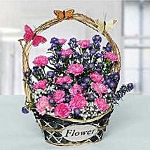Deightful Carnations N Blue Aster Flower Basket: