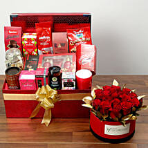 Delightful Food Hamper With Red Roses: Valentine's Day Gifts for Her to UAE