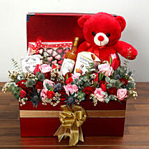 Delightful Hamper With Red Teddy Bear: Valentine's Day Hampers to UAE