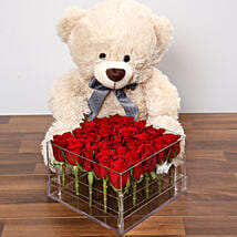 Dreamy Red Rose Box With Teddy Bear: Birthday Gift Delivery in UAE