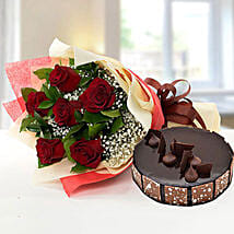 Elegant Rose Bouquet With Chocolate Fudge Cake: Rakhi Gifts for Sister in UAE