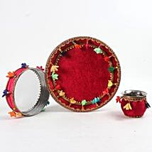 Floral Red Velvet Thali Combo for Karwa Chauth: Karwa Chauth Gifts to UAE