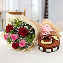 Gorgeous Roses Bouquet With Triple Chocolate Cake: Flower and Cake Delivery in UAE