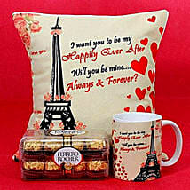 Happily Ever After Printed Cushion and Mug Combo: Valentine Gift Delivery Abu Dhabi