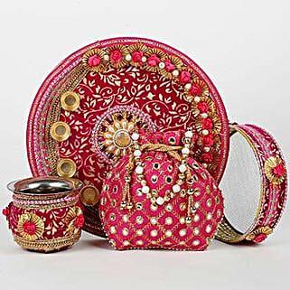 Karwa Chauth Steel Thali Potli Combo Pink: Karwa Chauth Gifts to UAE