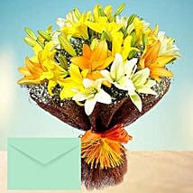 Mixed Lilies Bouquet With Greeting Card: Mother's Day Flower and Cards to UAE