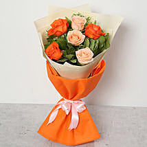 Orange and Peach Roses Bouquet: Dubai Flower Delivery